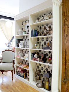 Beveled Crown Molding With Patterned Backing http://www.ivillage.com/billy-bookcase-ikea-hacks/7-a-551231