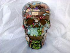 12 ceramic skull covered in avengers comic by nothingbutamother, $55.00