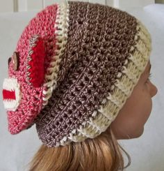 Crocheted Sock Monkey Slouchy Beanie Eyes in the back--yes, as this Board attests, I have a bit of a sock monkey thing.