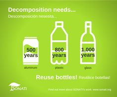 Decomposition needs 500 years for aluminium, 800 years for plastic and 1000 years for glass! www.sonati.org #recycle