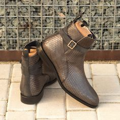 Custom Made Goodyear Welted Jodhpur Boot in Grey Genuine Python with Grey Luxe Suede