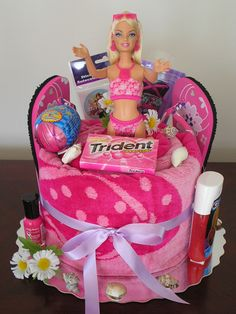 HAPPY BIRTHDAY BARBIE TOWEL CAKE – Creative Gift Idea  This is a great idea for Easter!  Love this!
