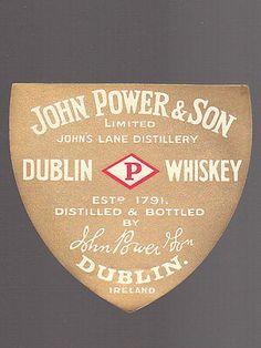 ETICHETTA-JOHN-POWER-DUBLIN-WHISKEY John Power, Distillery, Dublin, Whiskey, Calm, Bottle, Whisky, Flask, Jars