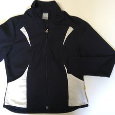 "Nike Navy Blue Running Jacket Navy blue and white Nike tech running jacket. Long sleeves. Two front pockets. Full zip through. In outstanding condition. 40"" around at bust, 36"" at waist and 24 from shoulder to bottom hem. Tag says Large (12-14). Nike Jackets & Coats"