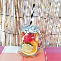 Citrus detox water is energizing and invigorating and full of flavour! Citrus Water, Orange Wheels, Drinking Jars, Infused Waters, Pomegranate Seeds, Fresh Ginger, Detox, Easy Meals, Healthy