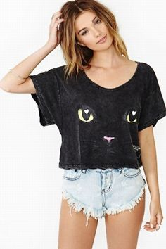"Camiseta estampada ""bad kitty"""