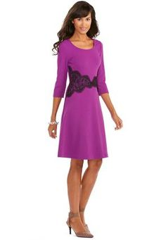 Cato Fashions Lace Waist Textured Skater Dress - Plus #CatoFashions