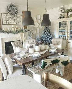 Stop!✋ Take a moment to take this Dinning Room in! Okay, take a breath! I don't know where to begin with this stunning room that belongs to Alley @coffeeandapaintbrush Every inch is perfection! Those light fixtures have me We have Rae Dunn in the chippy delicious cabinet, the flocked tress, those chairs! So much inspiration in this square. #swoonworthy