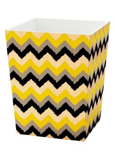 Decorative Paper/Wallpaper to cover wastebasket: Zigzag Wastebasket - DIY Decoupage Crafts on HGTV
