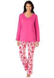 Plus Size Pj set with jersey knit top and micro fleece pants