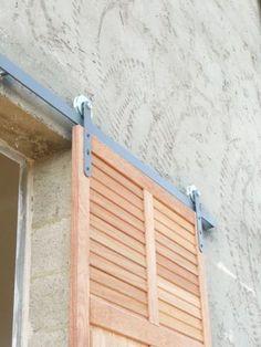 Pergola Kits Attached To House House Shutters, Diy Shutters, Window Shutters, Facade Design, House Design, Glass Door Refrigerator, Outdoor Shutters, Hurricane Shutters, Barn Renovation