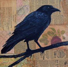 Crow Images, Crow Painting, Original Paintings, Original Art, Crows, Wood Art, Surrealism, Buy Art