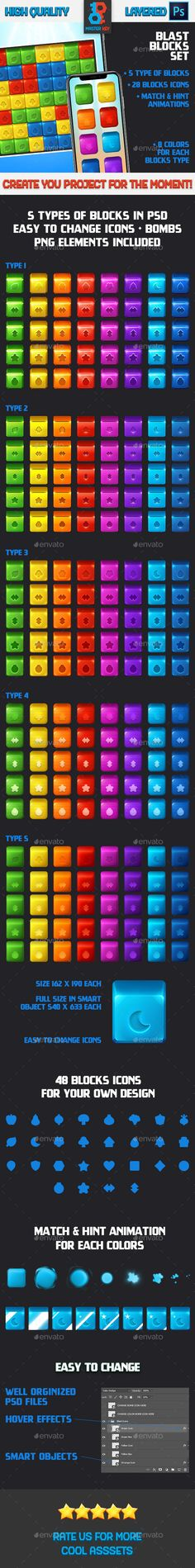 Buy Blast Game Blocks Set by Master_Key on GraphicRiver. It is set of blocks for blast, puzzle game with editable icons and animations in casual, modern, shiny, colo. All Block, Game Assets, Vector Shapes, Retina Display, Coding, Animation, In This Moment, Games, Things To Sell