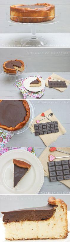 Tarta de queso con cobertura de chocolate / http://atrapadaenmicocina.blogspot.com.es/