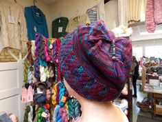 """Cecilia in her """"Nehalem"""" hat, knit with Mirasol Hacho."""