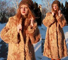 "Vintage Real FUR COAT Strawberry Blonde Broadtail Lamb ""Marilyn Furs"" Full Length Tibetan Persian Wavy Shag long hair Woman Stroller Coat 42 by HarlowGirls on Etsy"