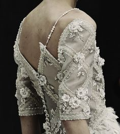 fletchingarrows:   Chanel Haute Counture Spring/Summer 2013.  these sleeves/pearl straps! what
