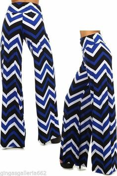 Blue Black & White Chevron High Waist Fold Over Waist Wide Leg Palazzo Pants #Unbranded #Palazzo