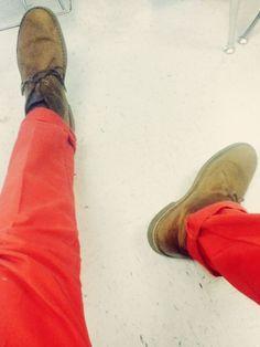 #Clarks Desert Boots and bright, bold denim
