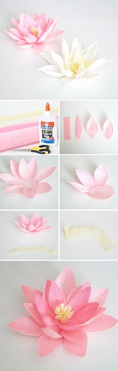 Paper crafts are probably the easiest type of DIY crafts, yet its still a lot of fun. It doesnt require a lot of resources nor high skills, most of the time you only need some papers, scissors, and glue. Enjoy trying these easy and beautiful paper crafts. Origami Flowers, Diy Flowers, Lotus Flowers, How To Make Paper Flowers, Useful Origami, Arts And Crafts, Diy Crafts, Creative Activities, Summer Diy