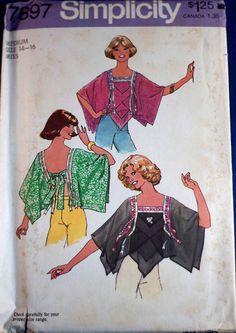 Vintage 1970s womens pattern -- Simplicity 7897 misses tie-back top Size 14/16, bust 36-38 UNCUT