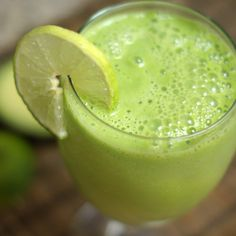 Key Lime Pie Milkshake (avocado, spinach, lime juice, almond milk, ice). Eating this + vanilla protein powder for breakfast right now (no need for stevia). Delicious!