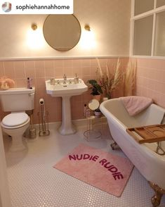 To find out more about Heritage® products, from beautiful bathroom suites to finishing touches, request a brochure and start a journey of inspiration. Pink Bathroom Tiles, Pink Tiles, Small Bathroom, Pink Bathrooms, Beige Bathroom, Master Bathroom, Bathroom Goals, Bathroom Inspo, Bathroom Inspiration