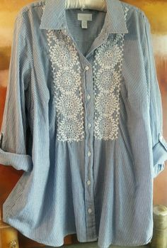 CHARTER CLUB 2X BLUE EMBROIDERED BUTTON DOWN TOP STRIPED BOHO 3/4 TO LONG SLEEVE…