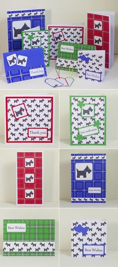 Free printable Scottie dog tartan card making downloads, craft backing papers, sentiment messages, embellishments and gift tags.