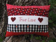 SALE Primitive Valentine Pillow True Love by WickedlyCreative, $14.00