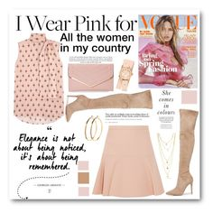 """""""I Wear Pink for..."""" by cindy88 ❤ liked on Polyvore featuring Kendall + Kylie, Valentino, Miu Miu, Sasha, Pieces, Michele and IWearPinkFor"""