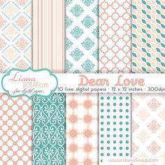 Paquete de papel digital gratuito - Querido Amor