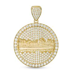 This men's pavé-set cubic zirconia Last Supper medallion necklace charm is set in gold. Add this charm to your favorite chain (sold separately). Pagoda Jewelry, Football Necklace, Men's Fashion Jewelry, Men's Jewelry, Gold View, Gold Pendant, Necklace Charm, Piercing, Burberry Men