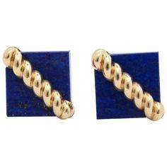 Tiffany and Co. Lapis Lazuli and Ridged Textured Gold Cufflinks Vintage Cufflinks, Cuff Earrings, Gold Texture, Designer Earrings, Lapis Lazuli, Blue Gold, Tiffany, 1970s, Jewelery