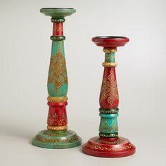 Get bare wood candlestick holders cheap and paint ornate designs on them. Painted Candlesticks, Candlestick Lamps, Candlestick Holders, Candelabra, Candleholders, Decorative Accessories, Home Accessories, Wooden Table Lamps, Bazaar Ideas