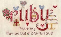 ruby anniversary cross stitch | image of Ruby Anniversary Word Sampler Cross Stitch Kit