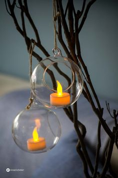 Glaskugeln mit Teelichtern Dekoidee, Windlicht Kugel, Baumschmuck, Teelichter zum Aufhängen