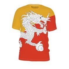 #bhutanese by #diplomaticimmunity, #citrusreport, #alloverprint, #tee, #teeshirt, #tshirt, #mens, #men, #southasia, #asia, #bhutan, #flag, #orange, #yellow, #dragon, #@Matty Chuah Citrus Report