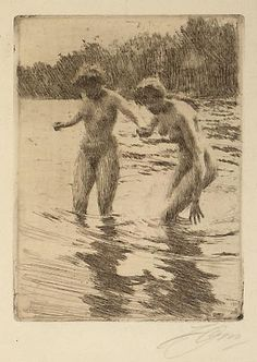 Anders Zorn drypoint and etching Figure Painting, Figure Drawing, Painting & Drawing, Illustrations, Illustration Art, Auckland Art Gallery, Drypoint Etching, Figurative Kunst, Etching Prints