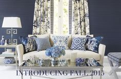 This beautiful Asian inspired living room is timeless. Scalamandre's blue and white chinoiserie fabrics are the focal point for the elegant global decor. Blue And White Living Room, Blue And White Fabric, My Living Room, White Fabrics, Blue Rooms, White Rooms, Chinoiserie Fabric, Upholstery Fabric Online, White Decor