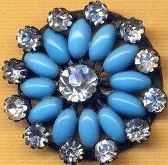 Gorgeous Antique Turquoise Glass Navette & Prong-Set Paste Jewel Button.