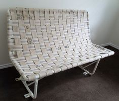 I've been pinned, which makes me feel sorta famous. Hand riveted and woven bench made from Vintage fire hoses from the