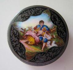 Ladies Powder Compact, Victorian Ladies Compact, Antique Enamel Compact, Collectible Antique Ladies Compact. $455.00, via Etsy.