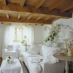Romantic Cottage Living Room in White