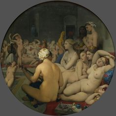 Jean Auguste Dominique Ingres The Turkish bath - Le Bain turc Paris Louvre high resolution image Art Pop, Invention Of Photography, Louvre Museum, Turkish Bath, Auguste, Classic Paintings, Dominique, Oil Painting Reproductions, Caravaggio