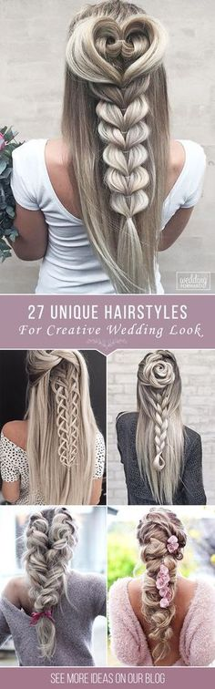 27 Creative & Unique Wedding Hairstyles ❤️ From creative hairstyles with romantic, loose curls to formal wedding updos, these unique wedding hairstyles would work great either for your ceremony or for your reception. See more: http://www.weddingforward.com/creative-unique-wedding-hairstyles/ #weddings #hairstyle