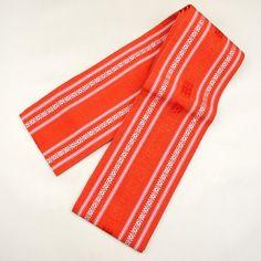 Red orange, silk hanhaba obi / 赤色に独鈷縞柄がキリリとした印象の半幅帯 http://www.rakuten.co.jp/aiyama #Kimono #Japan #aiyamamotoya