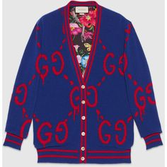 Gucci Guccighost Wool Cardigan (590.020 HUF) ❤ liked on Polyvore featuring tops, cardigans, ready to wear, women, v neck cardigan, v-neck tops, blue cardigan, wool tops and v neck tops