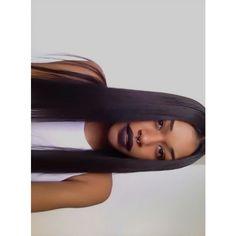 Dark lips black lipstick, straight hair
