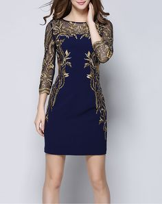 #AdoreWe #VIPme Sheath Dresses - YZXH Blue Illusion Yoke Embroidered Sheath Mini Dress - AdoreWe.com